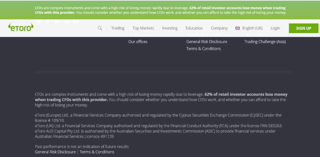 A screenshot of the eToro website showing where one can find the FCA regulatory number and how many retail investor accounts lose money when trading with eToro. The screenshot portrays that this number is 62%.